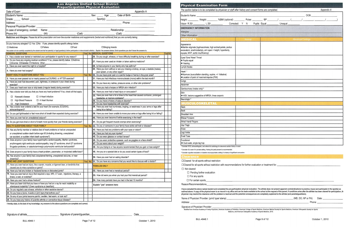 LAUSD 2-sided PHYSICAL EVALUATION FORM