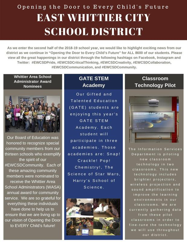 Screenshot of EWCSD's Community Newsletter