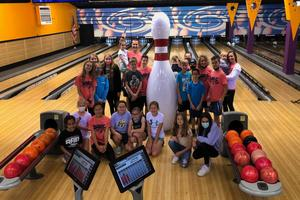 students at bowling party
