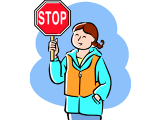 Crossing guard with stop sign clip art