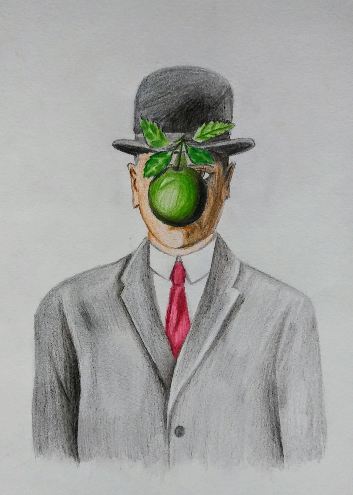 Landmark Student Drawing of Man with Apple in front of his face