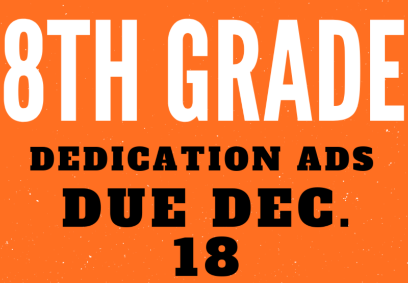8TH GRADE DEDICATION ADS ON SALE! Thumbnail Image