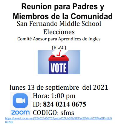 ELAC Parent Elections/ Elecciones para el Comite de ELAC Featured Photo