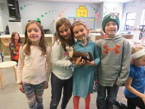 One student was so excited she even brought her own stuffed animal otter to school.