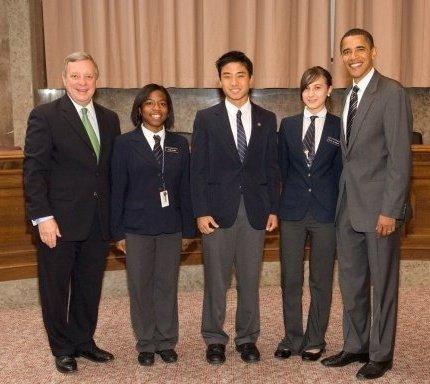 Students with President Barack Obama
