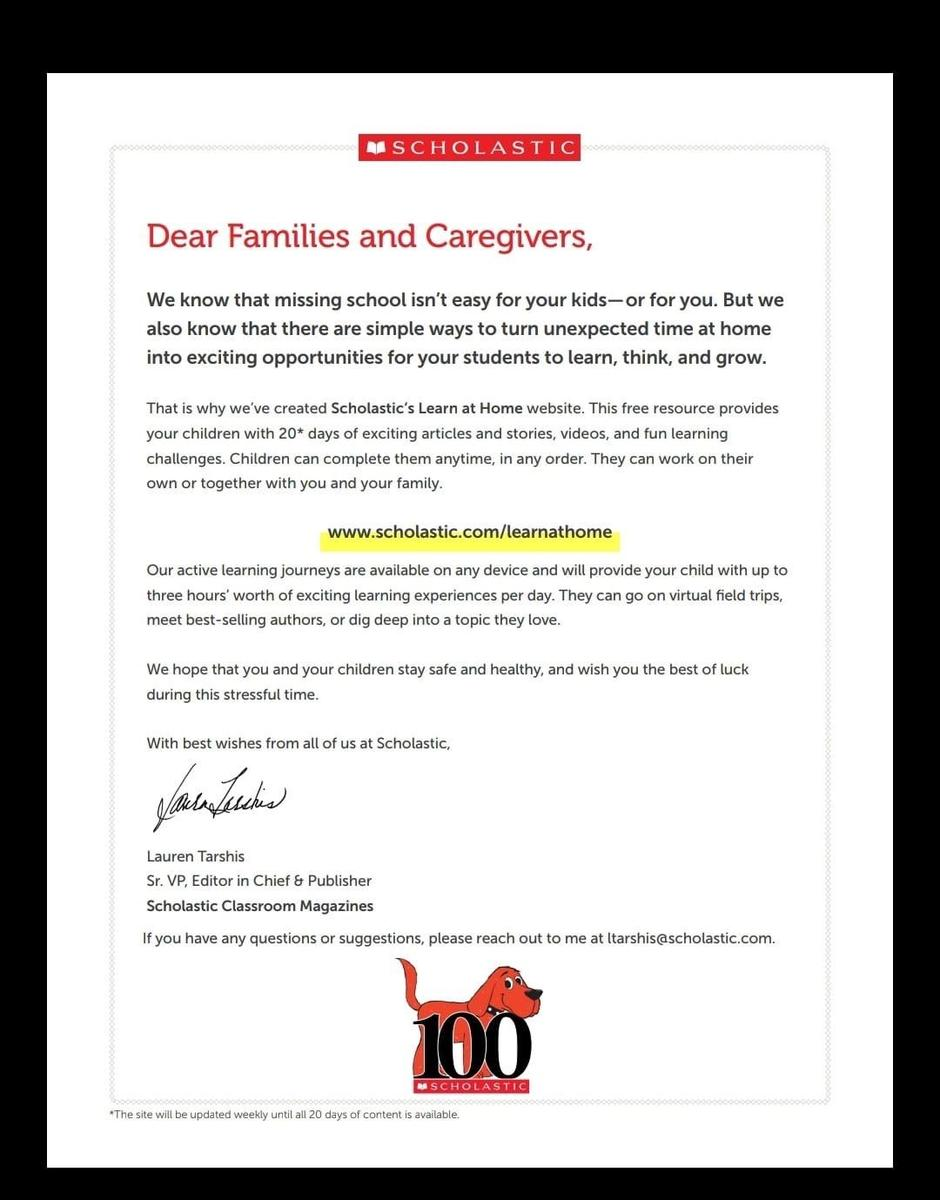 scholastic learn at home letter