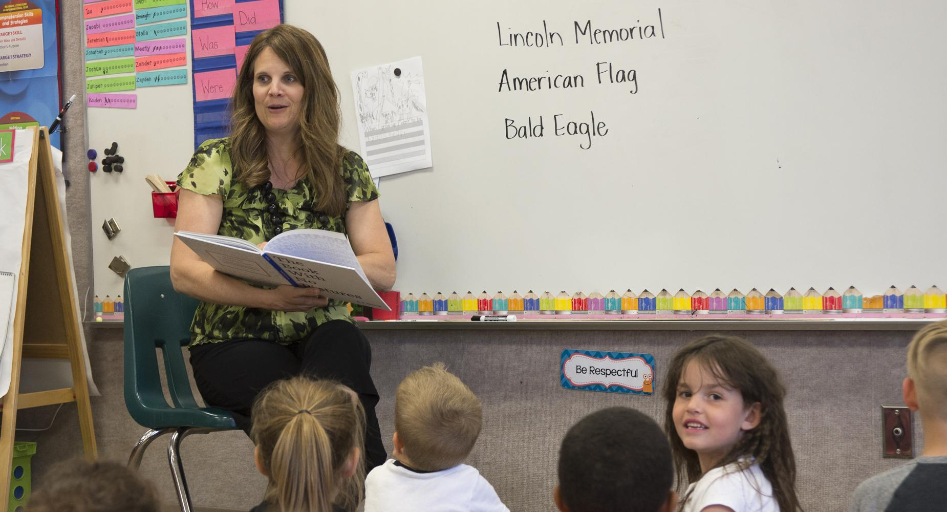 Teacher reads to class