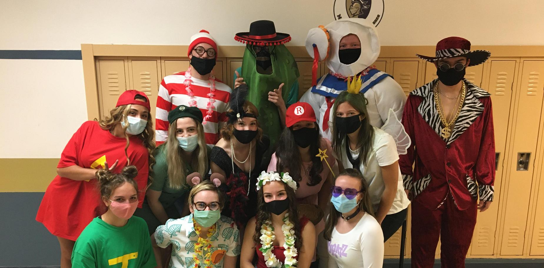 group of students in costumes