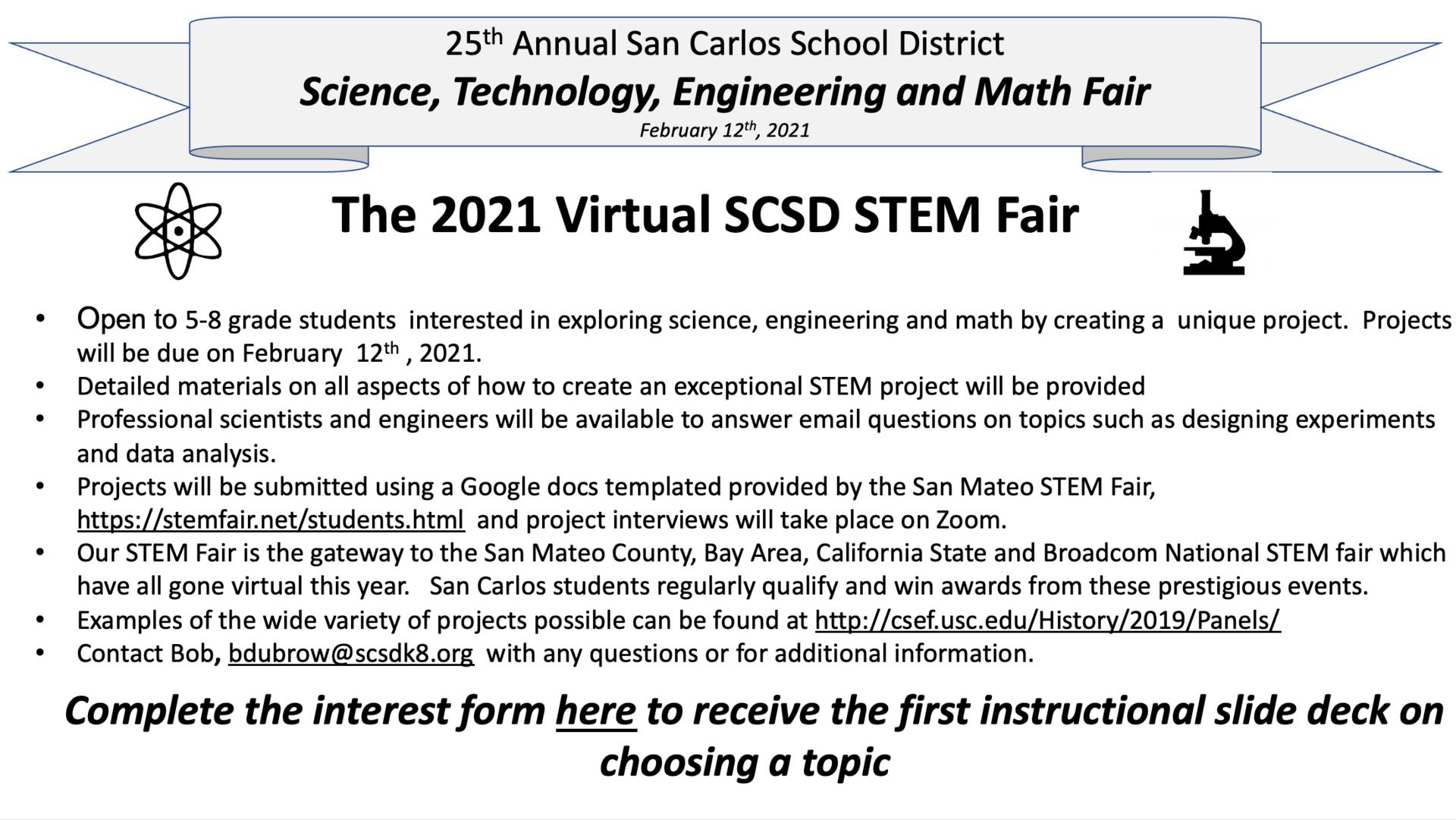 25th Annual SCSD STEM Fair Graphic