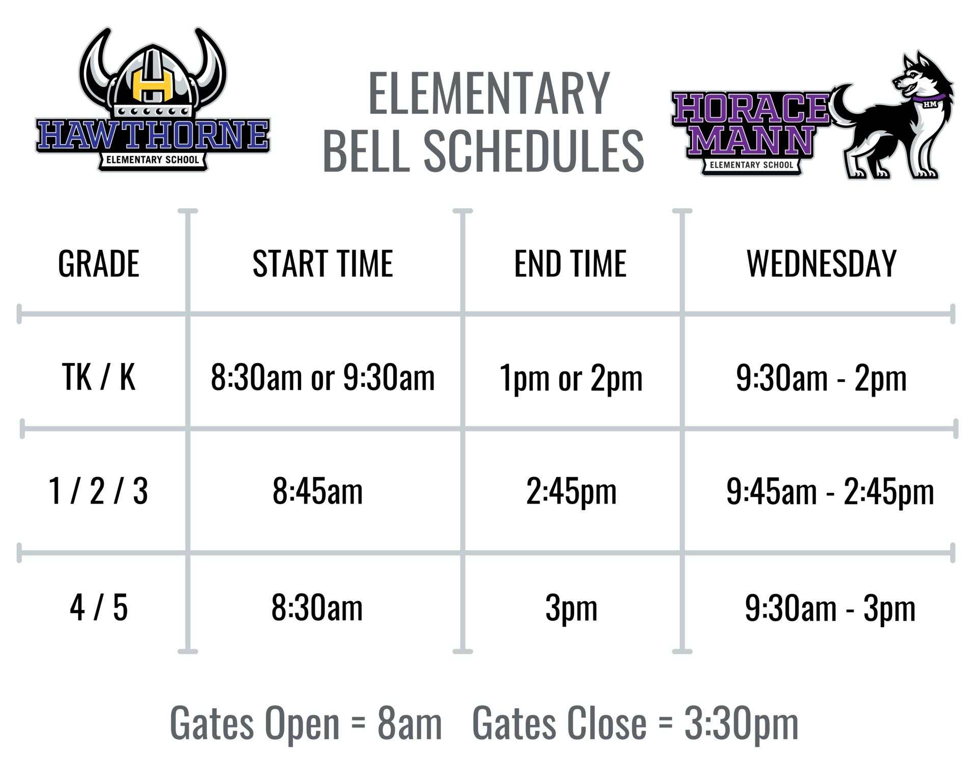 Elementary Bell Schedules