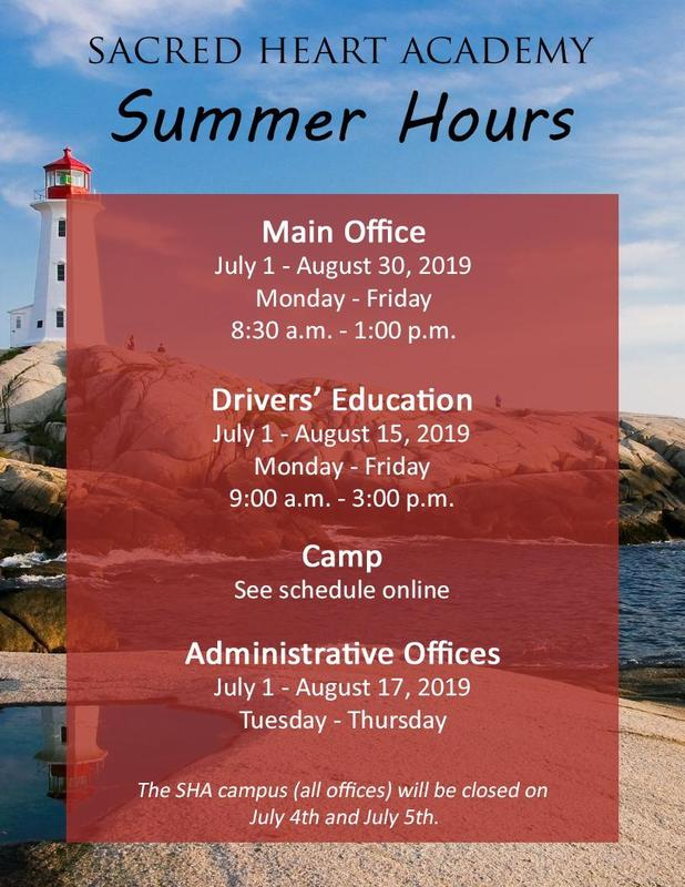 Summer Hours for Sacred Heart Academy Featured Photo