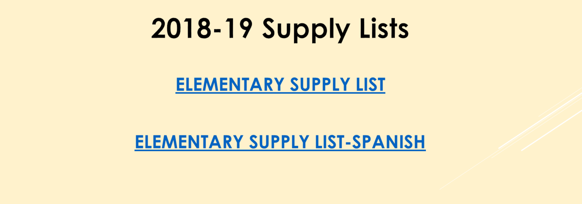 Elementary Supply List