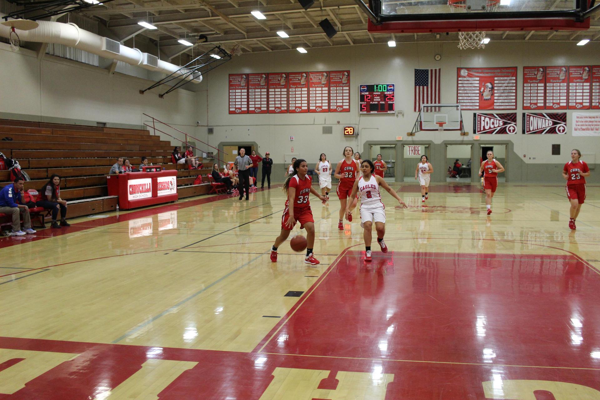 girls playing basketball against Firebaugh