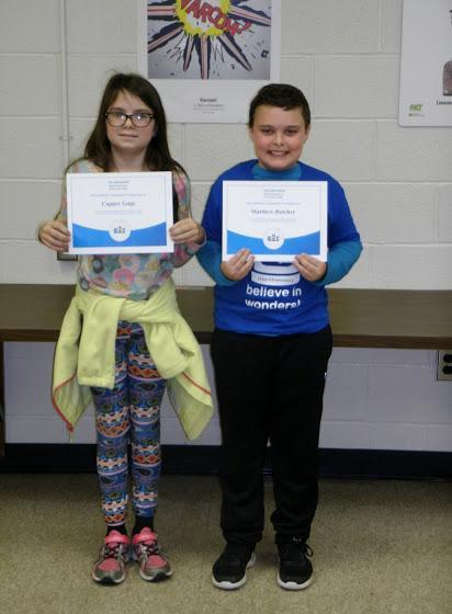 Spelling bee champion and runner-up.