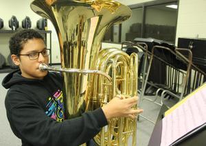 Preston Barfield playing his tuba