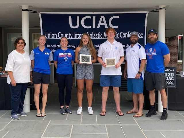 Union County Scholar Athlete award recipients, Faith Dobosiewicz and Colin Freer represented WHS at the drive-up award distribution on June 11, 2020. Faith plays soccer and basketball and will play soccer at Rutgers, Colin plays Football, Basketball and Lacrosse and will play Lacrosse at Princeton  Colin won the UCIAC's most prestigious award tonight: The Frank J Cicarell Award