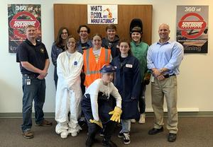 A team of Mars Area Middle School students films at Schroeder Industries  in Leetsdale, Pa.