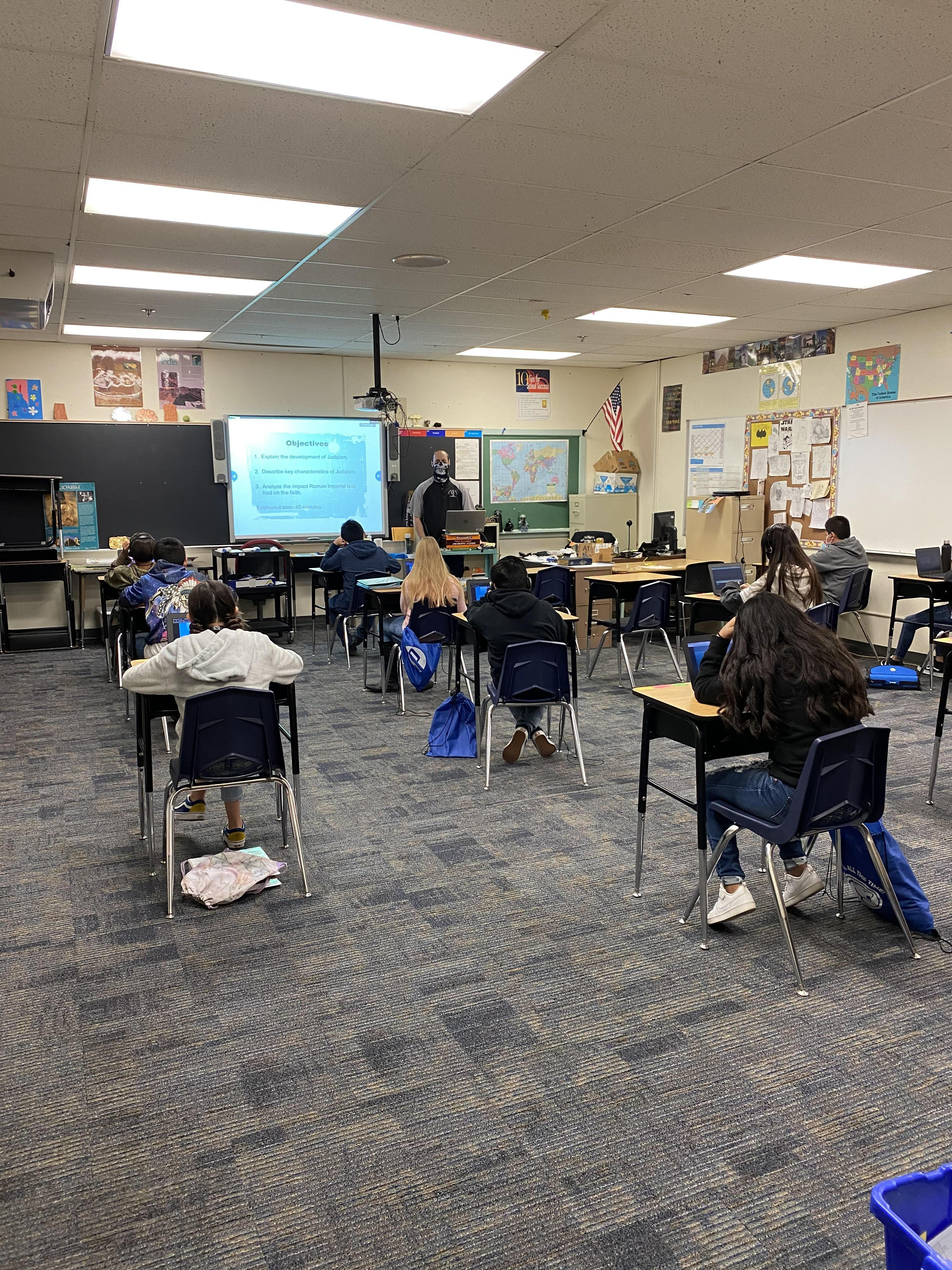 Mitch Dame in his Classroom