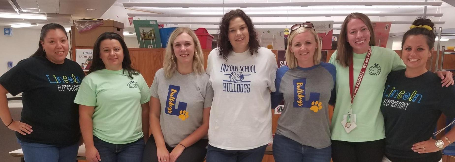 Teachers Wearing Lincoln Spirit-Wear
