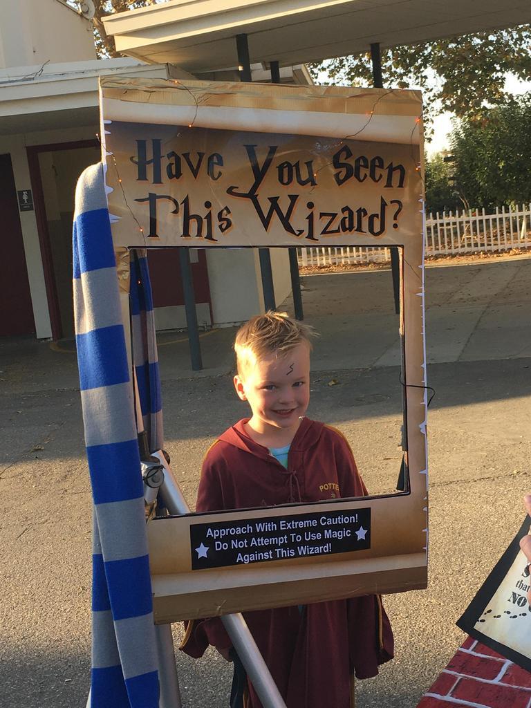 boy dressed in wizard costume