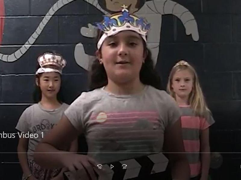 5th graders in World Language class at Franklin reenact Christopher Columbus's three tries to convince Queen Isabella and King Ferdinand to finance his voyage.