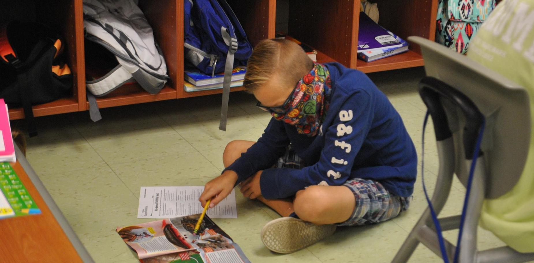 Student doing classwork