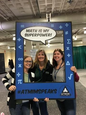 Instructional coaches Kiley Hemphill, Siobhan Mehalek and Jen Krans, at the ATMIM conference in Fall 2019