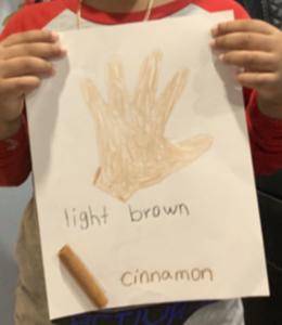 Cinnamon colored hand