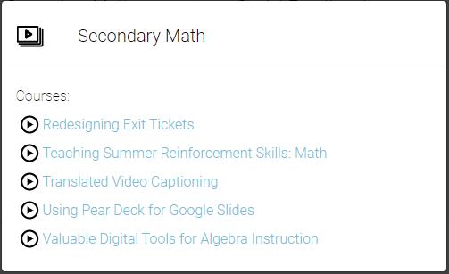 Secondary Math Playlist
