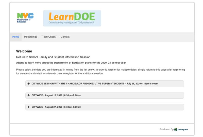 Return to School Information Session