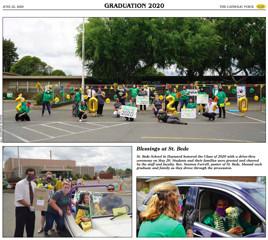 The St. Bede staff came together for a drive-thru graduation ceremony.