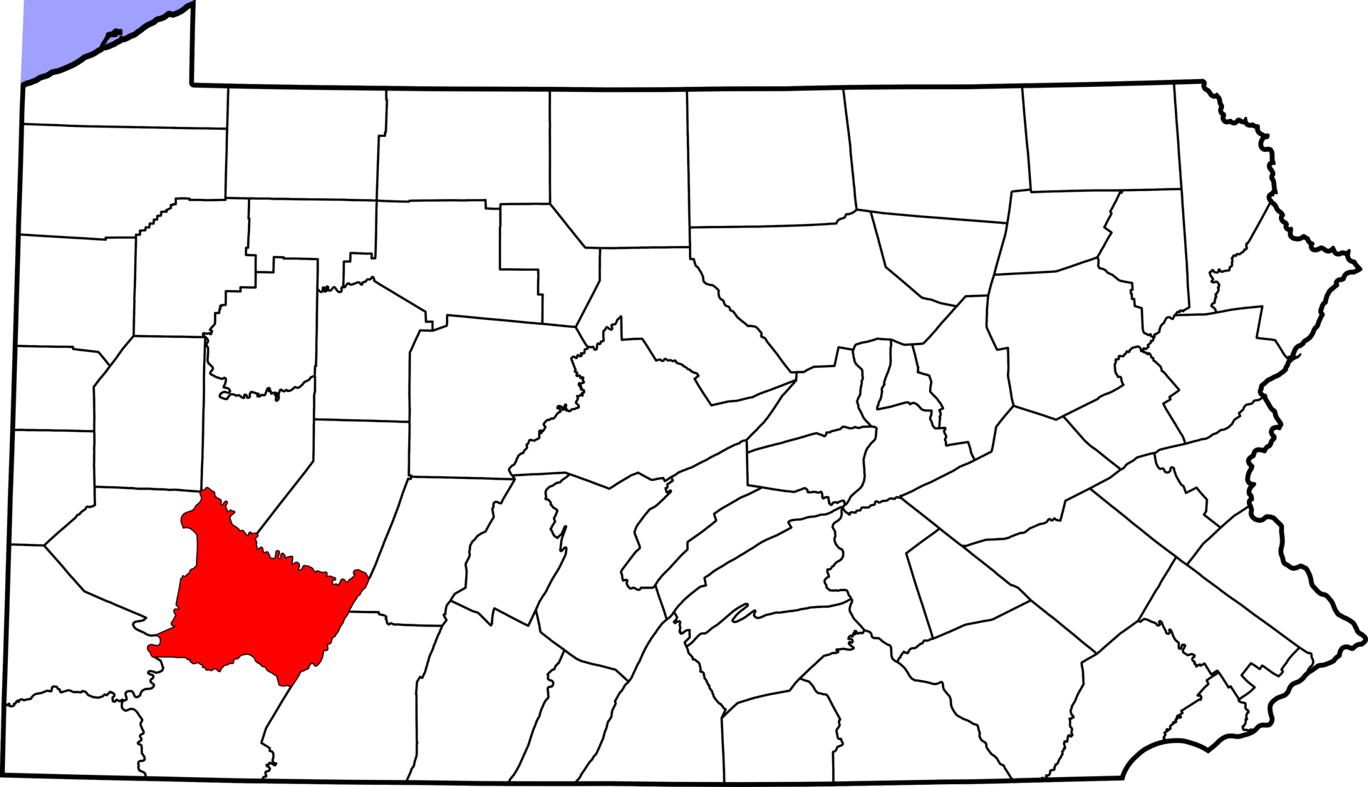 Map of Pennsylvania - Westmoreland County in red.