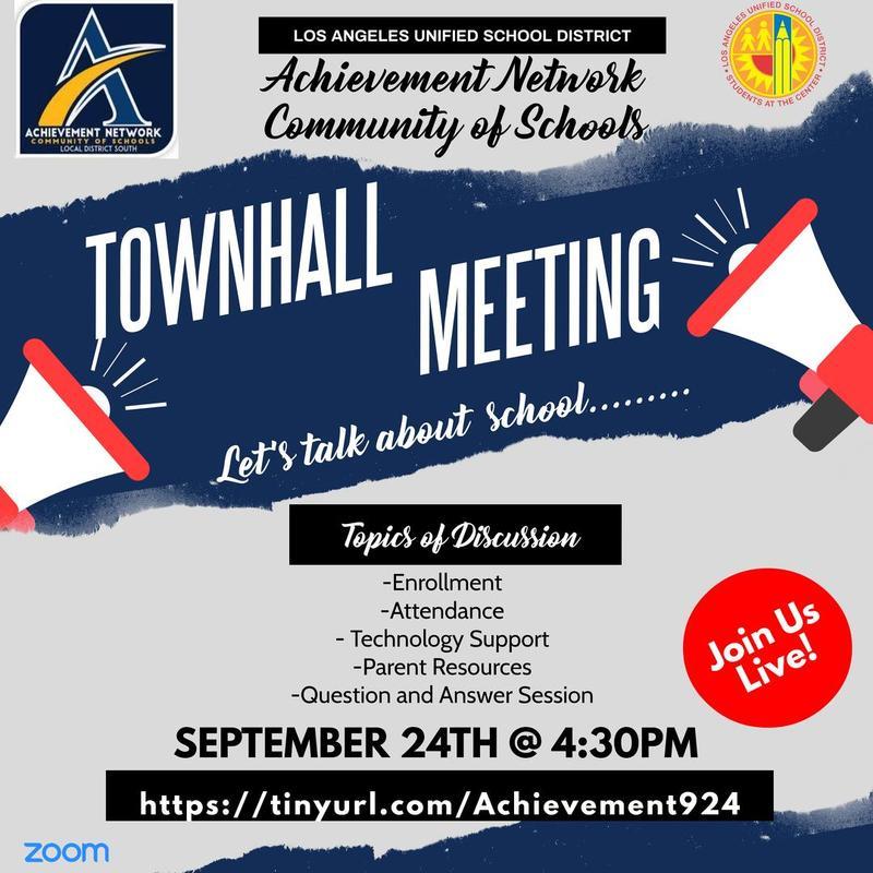 Achievement Network Town Hall Meeting Sept. 24 @ 4:30 p.m. Thumbnail Image