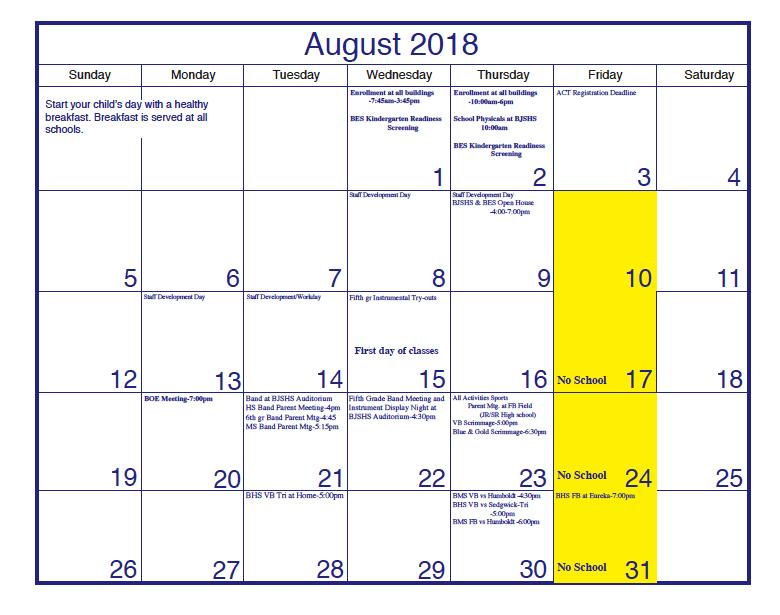 School Calendar for August 2018 Thumbnail Image