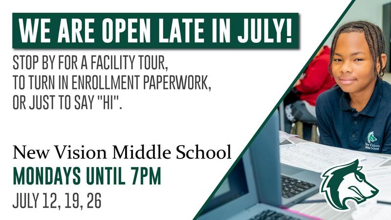 Flyer for extended office hours with student smiling while at their laptop and desk.