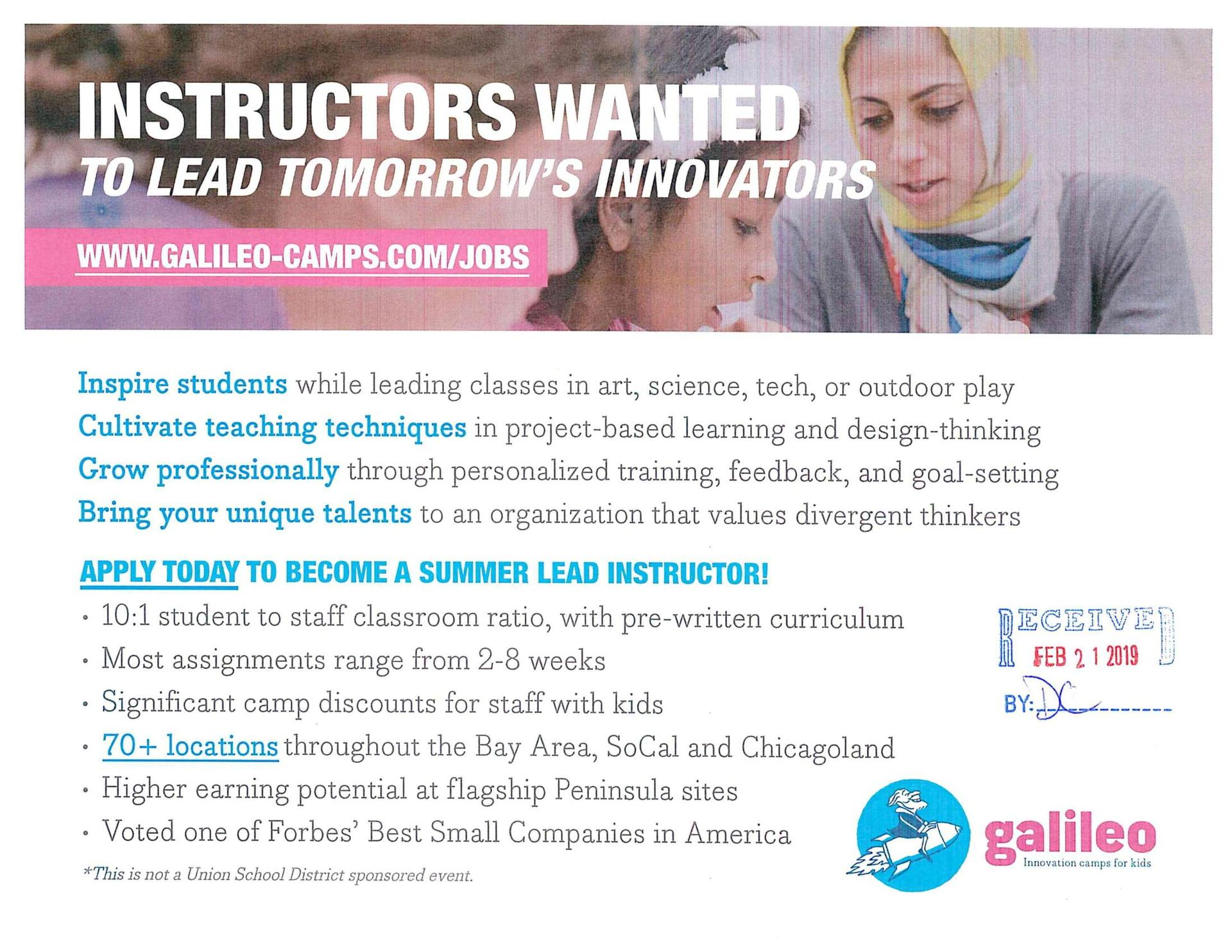 Galileo camp instructors wanted