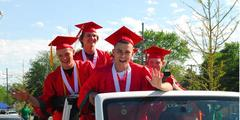AHS Parade of Graduates 2020 4 boys standing in jeep