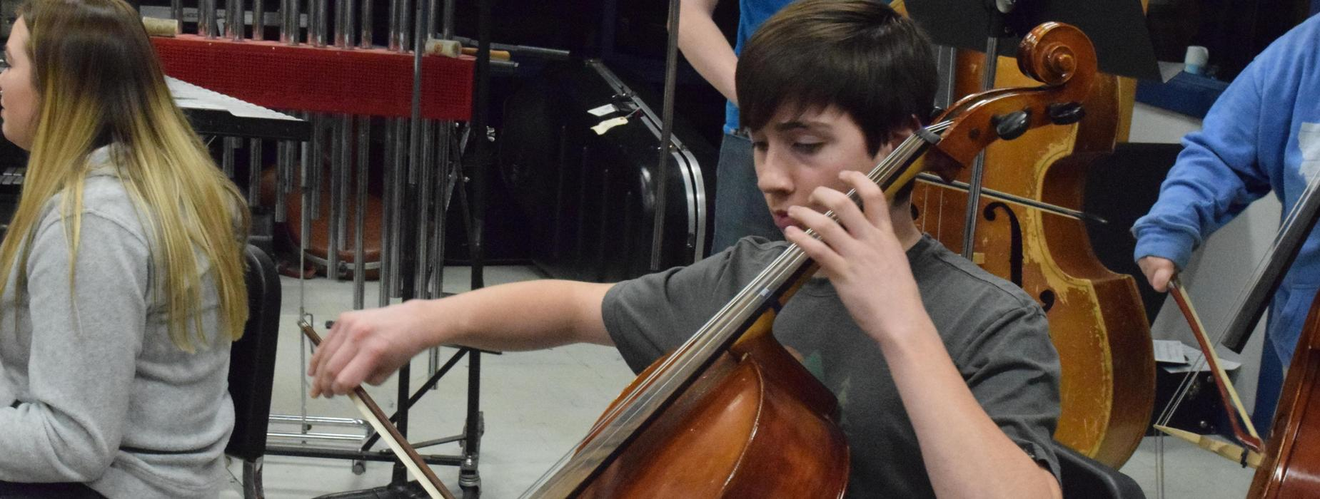 A student in Orchestra Class
