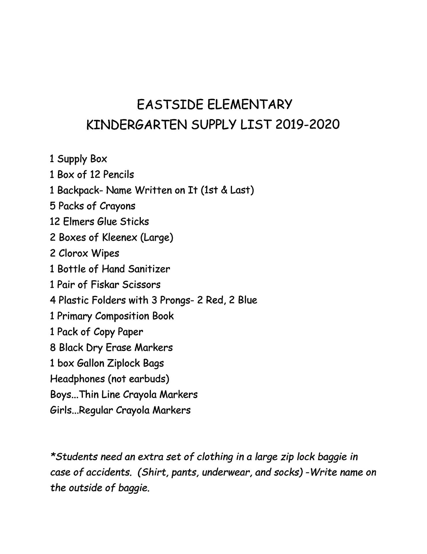 E2 K supply lists for 2019-20