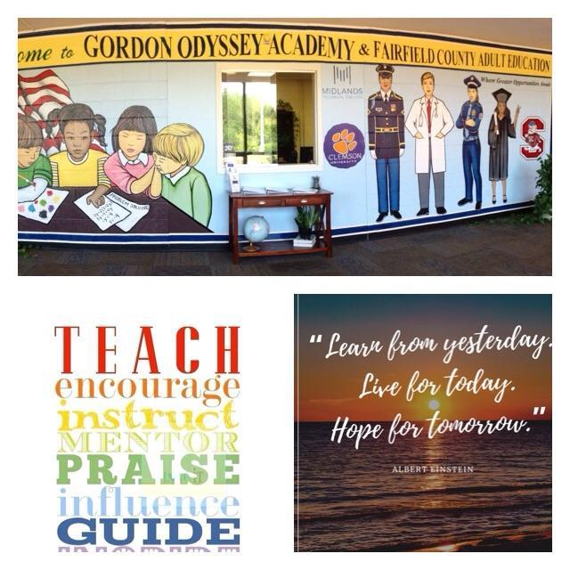 Collage of school mural and motivational quote