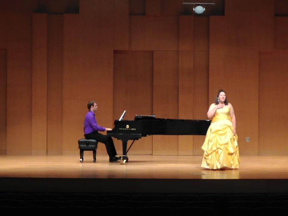 Ms. Butler singing 'A Change in Me' from Beauty and the Beast in Voertman Hall at the University of North Texas with her friend Nathan playing piano