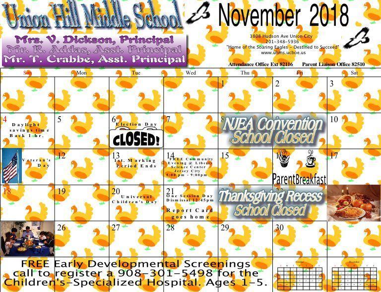 UHMS November Calendar 2018