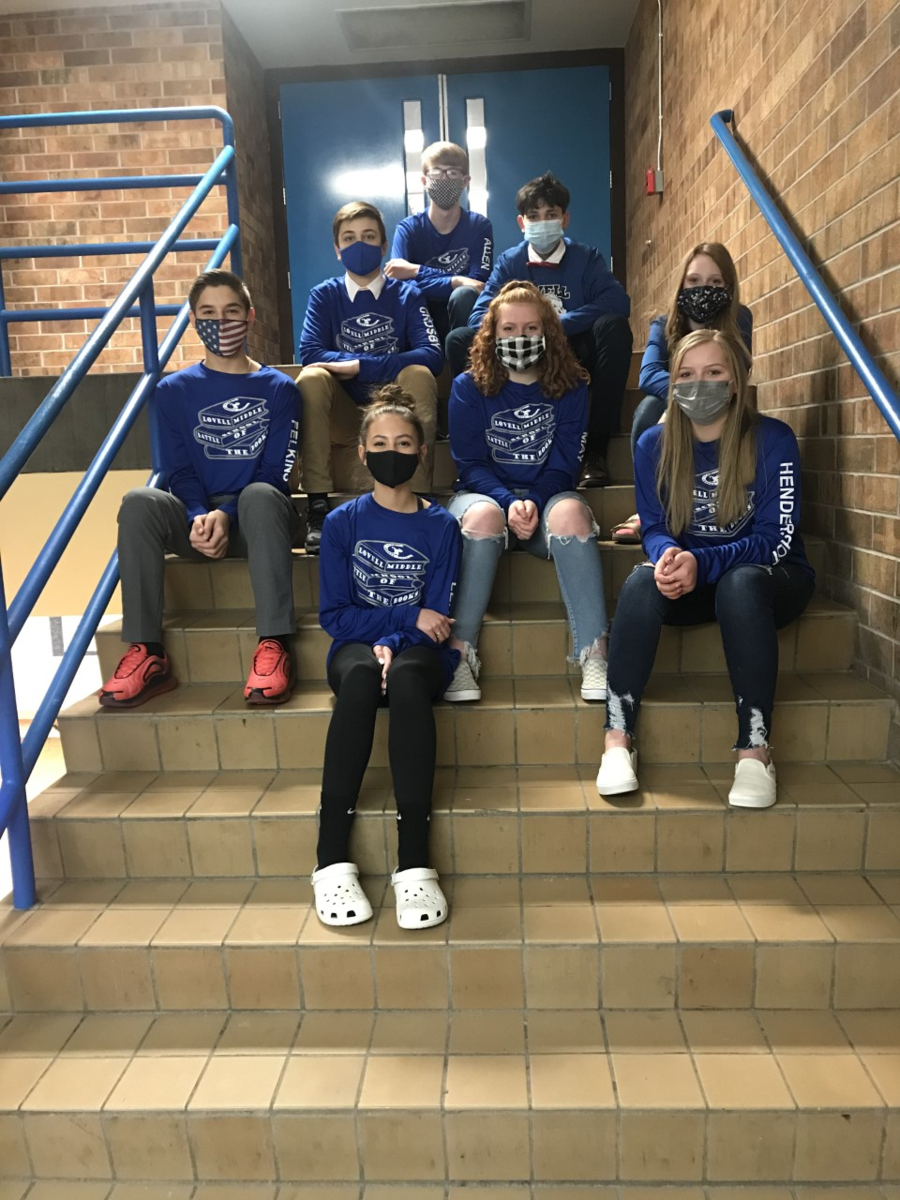 Students sitting on stairs