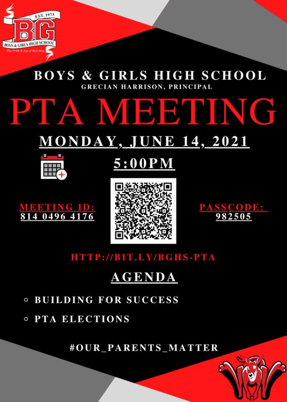BGHS PTA Meeting -  June 14 2021 - 5:00 PM