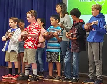 Teacher and students playing ukulele