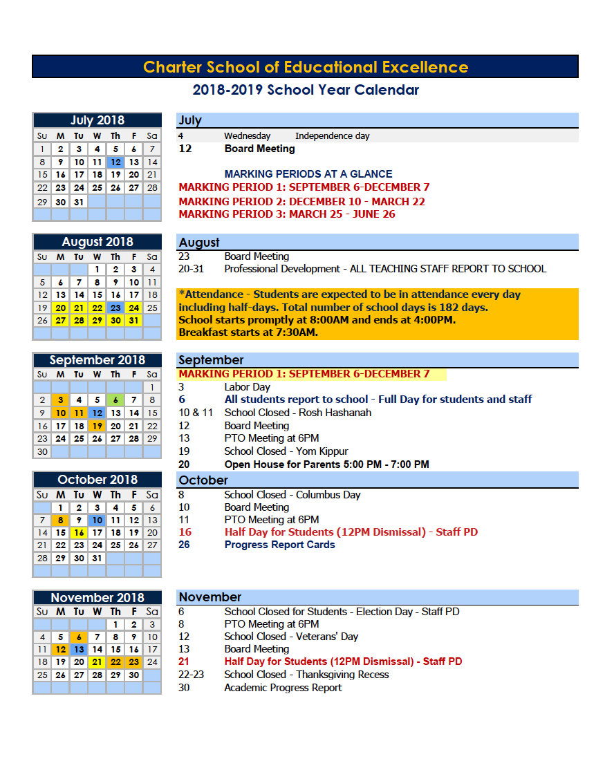Nyc Events Calendar 2019 Calendars – Parents – Charter School of Educational Excellence