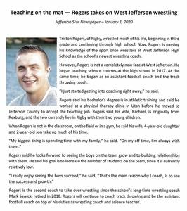 Coach Rogers Jefferson Star Article