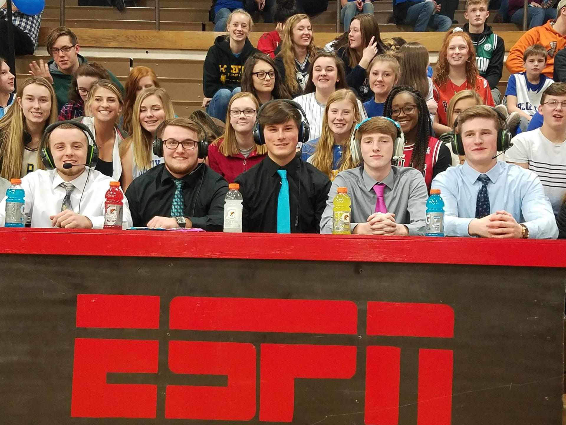 'Broadcast desk' at basketball game