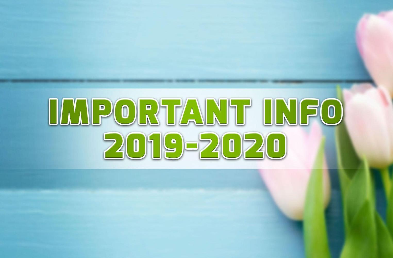 Kraemer Important Information Sheet 2019-2020