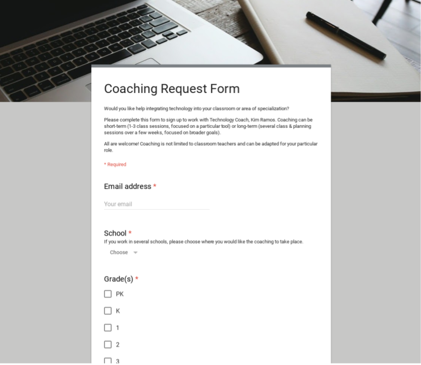 screenshot of coaching request form